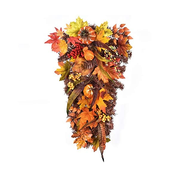 Sunm Boutique Artificial Wall Swags with Pumpkin Pine Cone Berry and Maple Leaf Artificial Berry Swag for Front Door Decor Thanksgiving Day Home Indoor or Outdoor Decoration