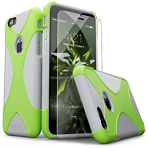 (iPhone 6 Case, iPhone 6s Case, Lime Green SaharaCase X-Case Protection Kit withBonus ZeroDamage Tempered Glass Screen Protector [120 Mix-Match Color Combinations] 3-Layer Protective Design (Gray))