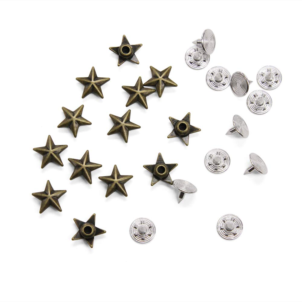 Set of 144 Antique Brass Star-Shaped Rivet Studs for Jeans and Outerwear