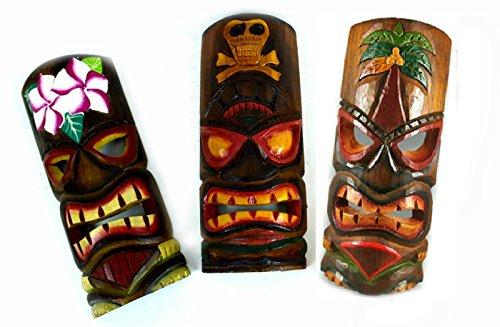(Set of 3 Polynesian Hawaiian Tiki Bar Style Wall Masks 12 inches Island Art)