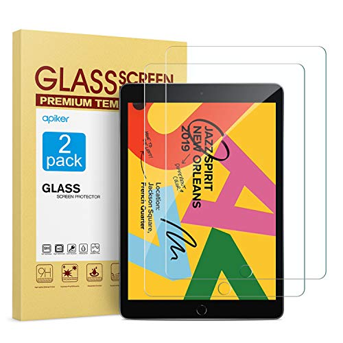 [2 Pack] Screen Protector for iPad 10.2 Inch 2019 Release, apiker Tempered Glass Screen Protector Compatible with Apple Pencil (Best Quality Tempered Glass Screen Protector)