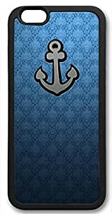 Anchor on Blue Background Customized Rubber Black iphone 6 plus Case By Custom Service Your Perfect Choice