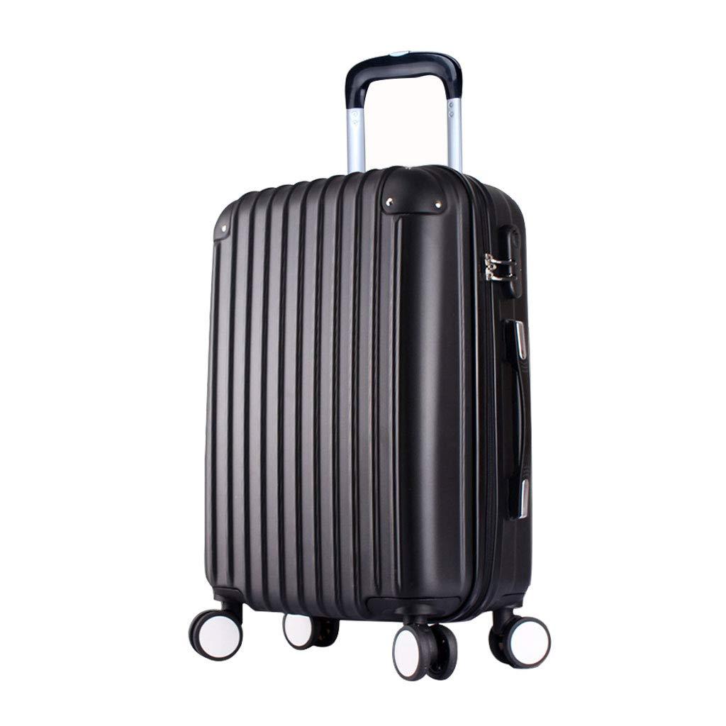 ABSハードシェルキャビン荷物トロリーバッグ軽量持ち運び用スーツケース作り付けロック、4輪、ブラック B07MQRXKGG  43*26*64cm