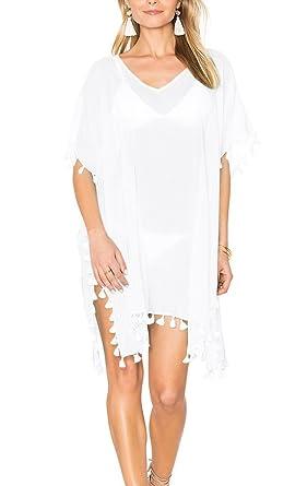 69f0306144c62 Luogida Womens Beach Cover ups Tassel Swimwear in Chiffon Oversize Bikini  Cover ups Loose Poncho Style Beachwear Swimsuit Top For Over Bikini  (White): ...
