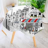 UHOO2018 Round Tablecloths-Drawing of a Street in Paris A Cafe and The Street Lamp Illustration Waterproof Oilproof Hotproof Table Cloth Table Multiple Styles 43.5'' Round