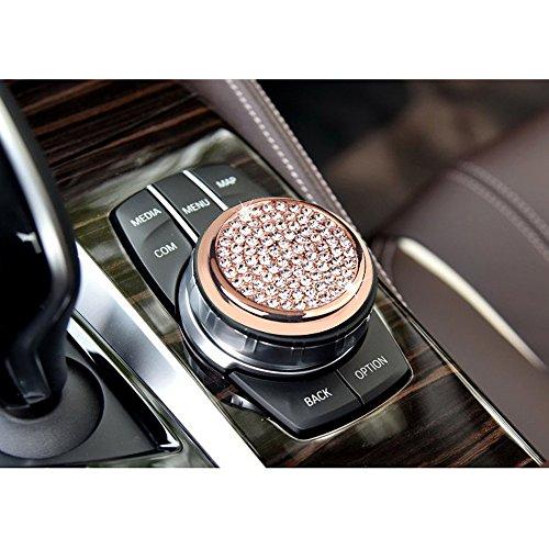 hor-Ind Bling Crystal Car Interior Center Console Multimedia knob Button Decor Cover Cap Trim For BMW 1 3 4 5 7 Series X1 X3 X4 X5 X6 2013-2014 F01 F07 F10 F11 F15 F16 F20 F25 (Rose gold-large size) (Large Center Caps)