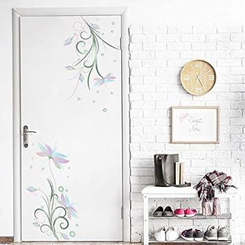 Flores Etiqueta de la pared nevera puerta vidrio armario ...
