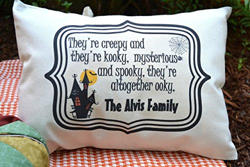 Halloween Pillow personalized with your Family Name Creepy and Kooky décor item for Halloween (Spooky Halloween Cat Names)
