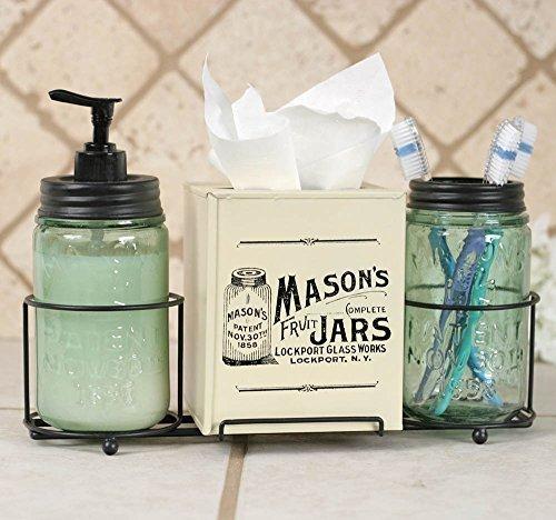 Mason Jar Bathroom Caddy - Glass Antique Toothbrush Holder