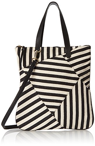 (POVERTY FLATS by rian Women's Striped Handheld, Black/White, One Size)