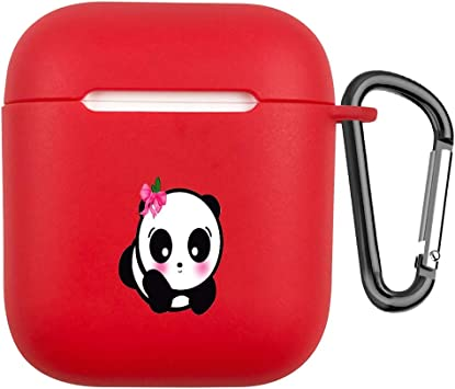 Fifet el Estuche de Carga para AirPods con Llavero, Cubierta de Parachoques Amortiguación TPU Light Soft Resistente al Deslizamiento sin rayones Silicone Cubierta de Piel para Airpods 1st & 2nd Panda: Amazon.es: