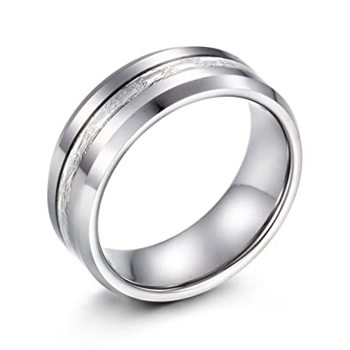 Amazon.com: lilileo joyería 8 mm Tungsteno curva de acero ...