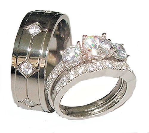 EEJ His Hers 3 Piece 925 Sterling Silver & Titanium Wedding Ring Set (womens 6 mens 11) ()