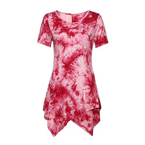 Funic Women's Summer Casual T-Shirt O-Neck Blouse Ptinted Short Sleeve Irregular Tops Plus Size Shirt Dress (M (US L), Red)