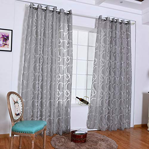 (charmsamx Grommet Semi Sheer Curtains Voile Solid Wide Circle Bubble Shape Print Transparent Tulle Window Curtains Rod Pocket and Punch Vertical Drapes Breathable Window Decoration (100X200 cm, Gray))