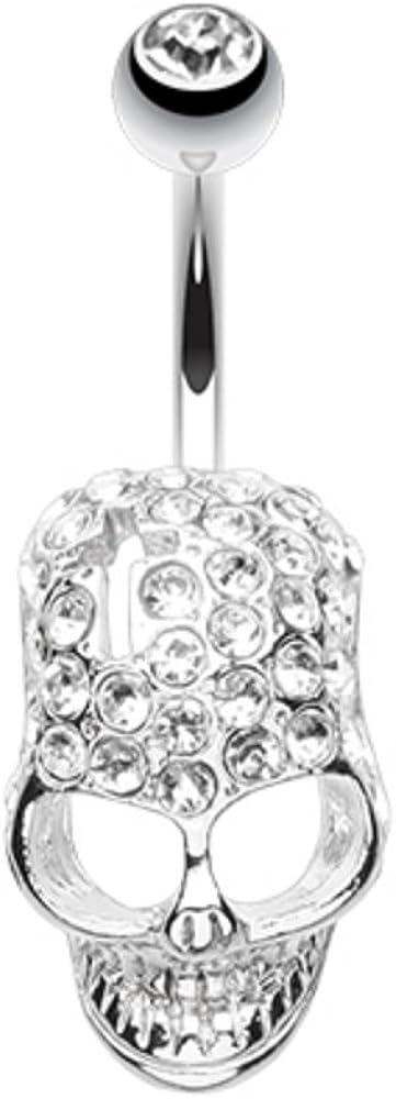 WildKlass Jewelry Blackline Cross Gem Paved Hardcore Skull 316L Surgical Steel Belly Button Ring