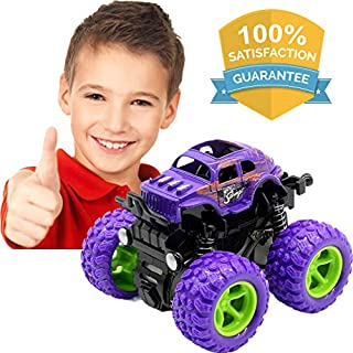LayYun Pull Back Cars Toys for Boys, Monster Truck Toys,Four-Wheel Drive Inertia Car Toys, Car Party Favors for Toddlers Boys Age 2-5 Year Gifts for Kids Birthday (Purple)