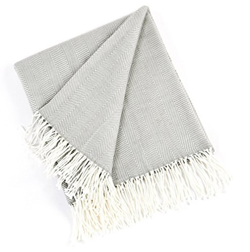 (Fennco Styles Herringbone Fringed Cashmere-Like Throw Blanket, 50