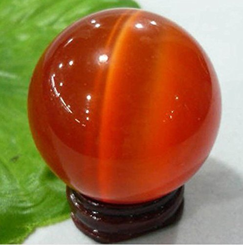 40MM + FREE STAND ASIAN QUARTZ red CAT EYE CRYSTAL BALL SPHERE Wholesale - Eye Asian Cat