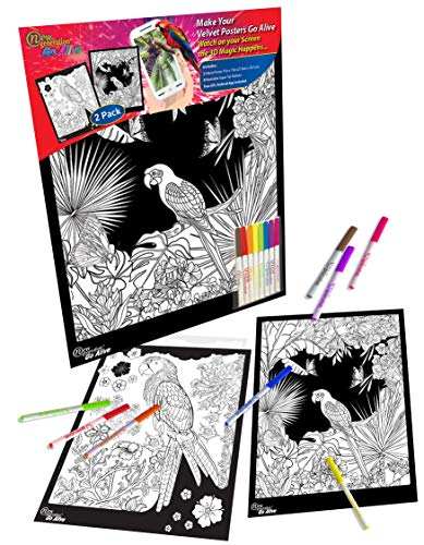 New Generation Go Alive - Parrot Coloring Velvet Art Posters 2-Pack Set of 11x15 Inch Color in Posters | 8 Super Tip Washable Markers Included | Parrot 2 Pack Fuzzy Posters Great as Gifting idea .