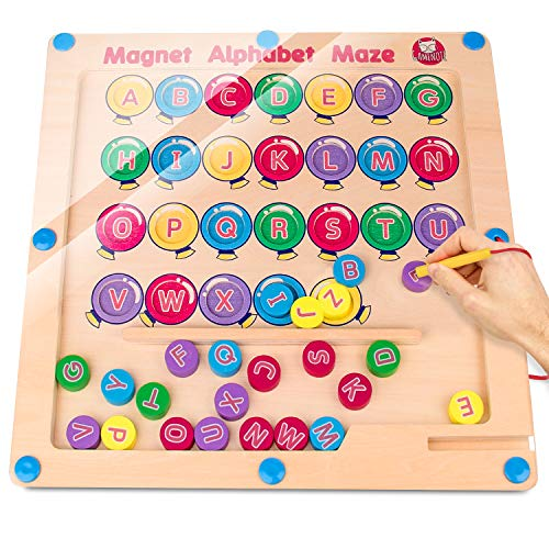 Gamenote Magnetic Alphabet Maze Board, Wooden Matching Letter Game for Preschool Kingdergarten - Fine Motor Skills Toys ABC Recognition Color Sorting Puzzle