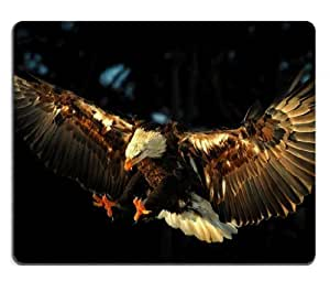 Flying Bald Eagle Expand Wings Mouse Pads Customized Made to Order Support Ready 9 7/8 Inch (250mm) X 7 7/8 Inch (200mm) X 1/16 Inch (2mm) High Quality Eco Friendly Cloth with Neoprene Rubber MSD Mouse Pad Desktop Mousepad Laptop Mousepads Comfortable Computer Mouse Mat Cute Gaming Mouse pad