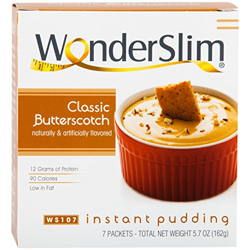 WonderSlim Low-Carb High Protein Instant Diet Pudding Mix - Butterscotch (7 servings/box) - Low Carb, Low Calorie, Low Fat (Protein Diet Pudding)