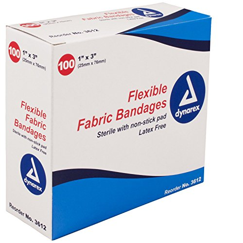 Dynarex Flexible Fabric Adhesive Bandages - 3612, Box Of 100 1