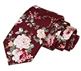 Floral Tie Men's Cotton Printed Flower Neck Tie Skinny Neckties, 12, Size Small