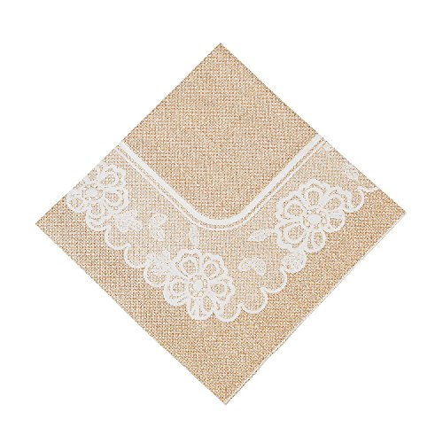 Burlap and Lace Luncheon Napkins, 16 Count