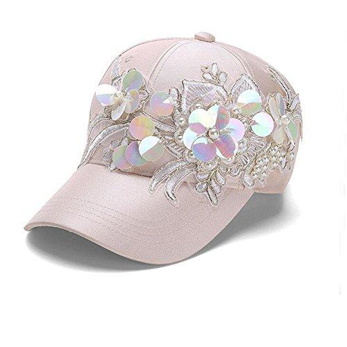 iHomor Women's Bling Baseball Cap Hat Adjustable with Floral Sequin ()