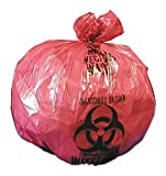 8 to 10 gal. Red/Black Biohazard Bags, Heavy Strength Rating, Flat Pack, 500 PK