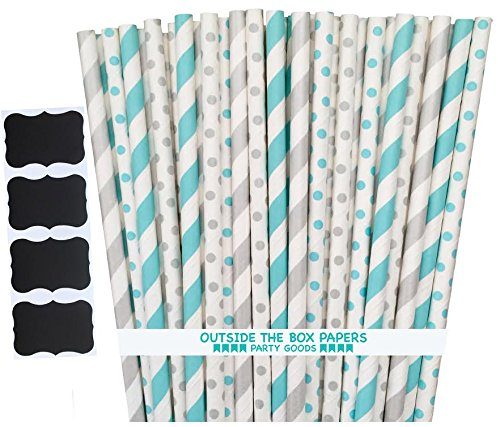 Outside the Box Papers Light Blue and Silver Stripe and Polka Dot Paper Straws 7.75 Inches 100 Pack Light Blue, Silver, - Blue Winter Paper