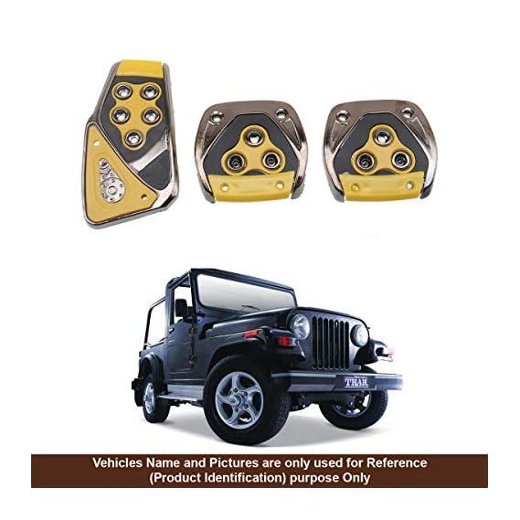 Oshotto 3 Pcs Non-Slip Manual Car Pedals kit Pad Covers Set for Mahindra Thar (Black)