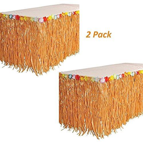 Kicko Luau Hawaiian Grass Table Skirt Decorations - 2 Pack 9' X 29