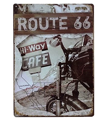 UNiQ Designs Vintage Tin Signs-HW Motorcycle Tin Sign US Route 66 The Mother Road Signs Decor compliment-Route 66 Decor Vintage Metal Signs-Perfect Mancave Garage Signs and Decor Metal Wall Signs 12x8 (Mother Cycle)
