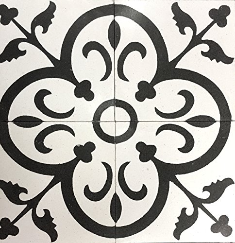 Flora Encaustic White and Black 8x8 Honed Finish Cement Tile Floor