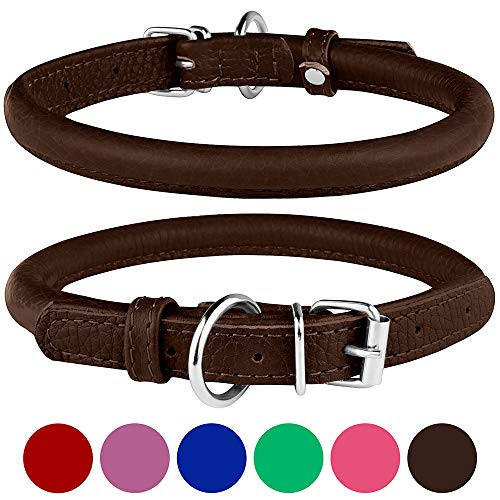 BronzeDog Rolled Leather Dog Collar Round Rope Pet Collars for Small Medium Large Dogs Puppy Cat Red Pink Blue Brown Rose Green (Neck Size 19'' - 21'', Brown) ()