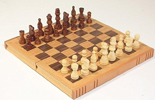 (Cambor Felted Chess Set Book w Weighted Chessmen in Walnut)