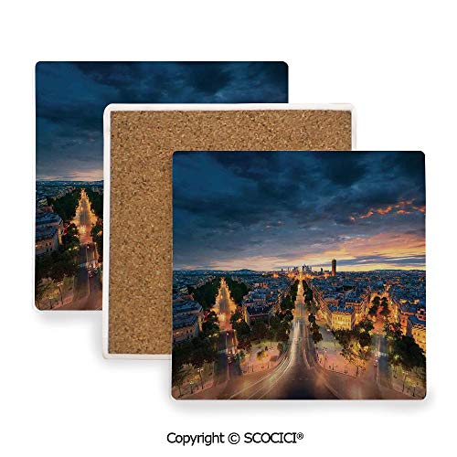 Ceramic Coasters with Cork Base, Prevent Furniture from Dirty and Scratched, Suitable for Kinds of Mugs and Cups,Paris Decor,Paris Street View Avenue Boulevard Panoramic,3.9