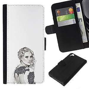 KLONGSHOP // Tirón de la caja Cartera de cuero con ranuras para tarjetas - gris blanco de la moda del diseño del estilo del arte - HTC Desire 820 //