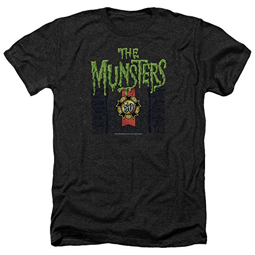 Trevco Men's Munsters Short Sleeve T-Shirt, Heather Black, Large from Trevco