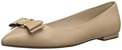 9cba24c778cfa Cole Haan Women s TALI Bow Skimmer Ballet Flat Nude Leather 5.5 ...