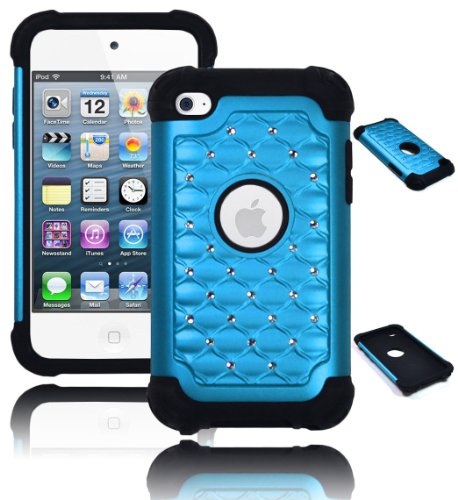 Bastex Heavy Duty Hybrid Case for Touch 4, 4th Generation iPod - Black Silicone / Sky Blue Spot Diamond Bling Hard Shell
