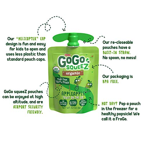 GoGo squeeZ Organic Applesauce on the Go, Apple Apple, 3.2 Ounce (12 Pouches), Gluten Free, Vegan Friendly, Unsweetened Applesauce, Recloseable, BPA Free Pouches (Packaging May Vary)