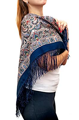Rada Wear&Accessories Wool Boho style Paisley Russian Women Shawl Wrap Scarf Blue Violet and Navy
