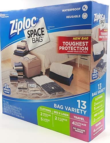 Ziploc Space Bag- Vacuum Seal Bag- 13 Bag Variety- 4 Travel, 2 Med, 5 Lrg, 2 XL