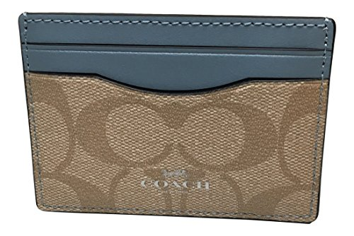 Coach Signature PVC Card Case Light Khaki Pool - Pvc Case