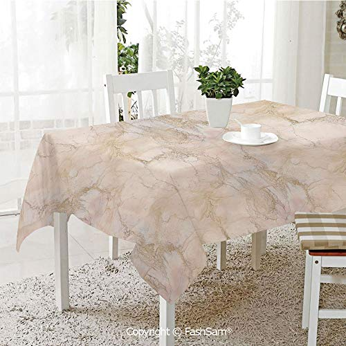 AmaUncle Party Decorations Tablecloth Pink and Peach Marble Background with Crack Patterns Architecture and Building Material Decorative Resistant Table Toppers (W60 xL84)]()