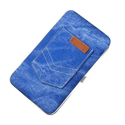 Titular de la tarjeta, Morwind Las mujeres de cuero bolso largo Monedero titular multi-funcional Azul